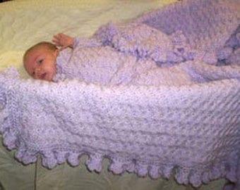 Hand Crocheted  Baby Blanket in Lavender
