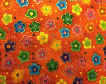 Bright Orange with Flowers 100% Cotton Fabric