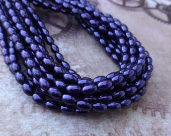 free uk postage Strand of 80 Faux Pearl Beads Rice Glass Pearls Purple
