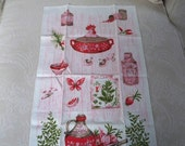 Vintage Kitchen Linens Pink Kitchen Towel Collectible Linen