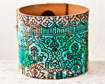 Turquoise Leather Jewelry - Wide Cuff Wristband - Bohemian Bracelet Rainwheel
