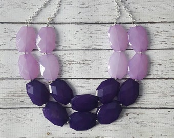 Dark Purple and Lavender Chunky Statement Bib Necklace...Purchase 3 or more get 10% off