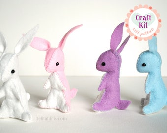 Rainbow Stuffed Bunny Sewing Kit * Make Your Own Felt Stuffed Bunnies! * DIY Craft Kit *   Felt Sewing Pattern Craft Activity