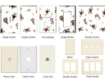 Light Switch Plate, Outlet Cover, Rocker, Cable, or Phone Jack - Mix and Match - Made with Kids Line Jungle 123 Monkey print fabric