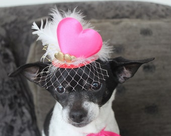 Cute valentine  hat for dog or cat with  heart  and white feather
