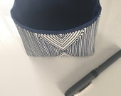 mini fabric storage bin // indigo and white // small basket