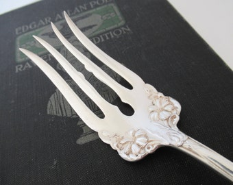 Antique Silverplate Cold Meat Fork, Grenoble Gloria 1906 by Wm A Rogers, Ornate Floral design Silverplate Flatware Serving Fork