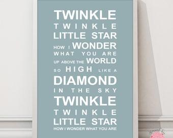 Twinkle Twinkle - Nursery Rhyme Print