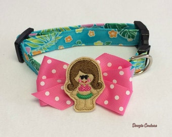 Hula Girl Tropical Island Dog Collar Size XS through Large by Doogie Couture Pet Boutique