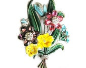 RESERVED Enamel Flower Brooch c.1930's