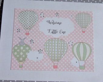 Welcome Baby Card - Baby Shower Card - Welcome New Baby Card - Hot Air Balloon Card - Baby Girl Card - Baby Boy Card - hob1