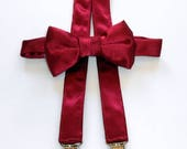 SALE Burgundy Bowtie and Suspenders Set - Infant, Toddler, Boy-        2 weeks before shipping