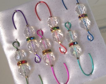 Beaded Ornament Hangers- Crystal - Colorful Rondelle - Wire Assortment - FREE SHIPPING