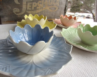 Vintage Anchor Hocking Lotus Pastel Plate and Bowl Set Milk Glass Vitrock