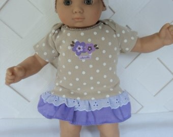 Bitty Baby Girl cute 3  pc. tan and lavender  dress with  Crochet Hat and Lace Socks   doll clothes