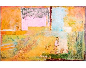 Fine Art Print, Landscape Print, Giclee Art ochre pink green, turquoise, girl, abstract landscape, home decor, wall art, by Ana Gonzalez
