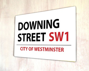 Downing street London Street sign A4 metal plaque Shabby Chic picture home deco