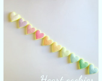 ETSY  Pretend felt food  Heart Cookie set (A)