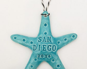 CUSTOM SEA STAR Ornament with City and Year