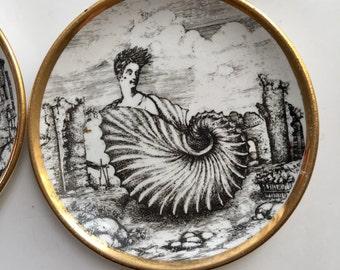 Vintage  Piero Fornasetti Dish Milano Italy Lady in Shell