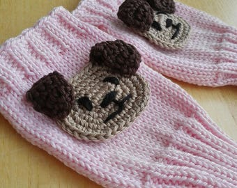 Childs Fingerless Gloves, Puppy Gloves, Arm Warmers, 3 sizes, 100% cotton, Dog Appliques