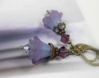 Purple Flower Earrings, Vintaj Brass Earrings, Swarovski Crystal Jewelry, Floral Earrings, Flower Jewelry, Lavender Earrings, Gifts for Her