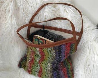crocheted handbag: brown and purple