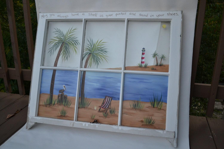 Old Window Hand Painted Window Beach Scene Window Shabby Chic