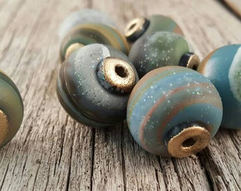 Gold-tipped Ocean Swirl Polymer Clay Beads