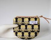 Mini zip catch-all bag: Black with gold skulls