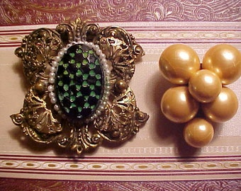Lot Vintage 40s DRESS Clips/Pins UNUSUAL Glass Collect Don't Make Anymore Many Ways to Wear