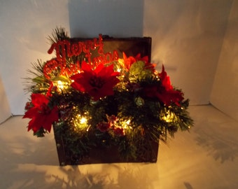 Christmas Holiday Flower, Floral Arrangement in Decorative Trunk, Lighted