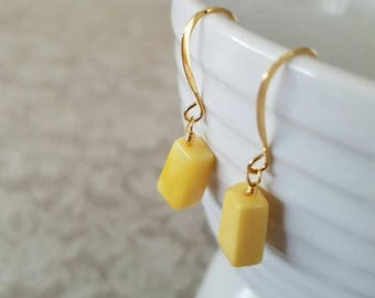 CLOSING SALE Honey amber, rectangular, wire wrapped, gold plated earrings.