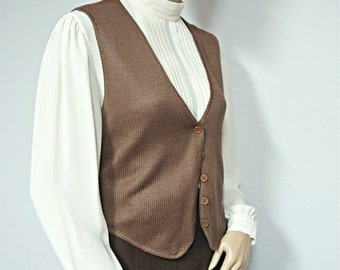 1970's Sweater Vest Women's Vest Vintage Knit Vest Brown Button Front Vest Size Small