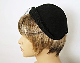 Black Felt Hat Merrimac 1940's Vintage Cloche Veiled Hat