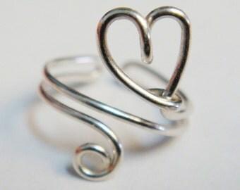 Heart Ear Cuff   Sterling Silver Ear Cuff    Silver Heart Ear Cuff   Heart Jewelry   Valentines Jewelry    Valentines Earrings