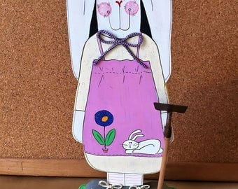 "Handmade handpainted  Wood  Easter Bunny Decoration 10 1/2"" x 4 1/2 """