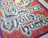 Do justice, love mercy, walk humbly - print of watercolor and pen illumination