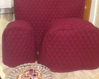 Burgundy Kitchen Mixer Appliance Cover Set of 3 with 2 Slice Toaster and Can Opener Covers