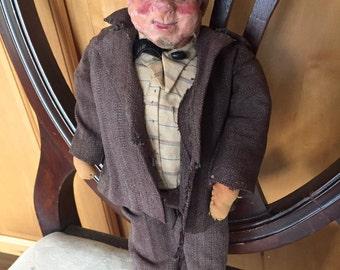 Old paper mache doll of  gentleman
