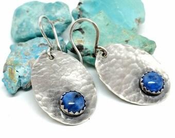 Gemstone Earrings, Blue Denim Lapis, Silver, Dangle Earrings for women, Rustic jewelry