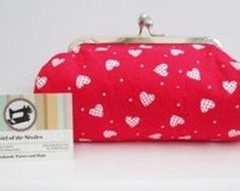 SALE, Hearts   Print Clutch Bag, Evening Bag, Make-up Bag with Metal Clasp Fastener