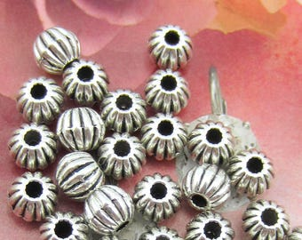 30 silver beads melon spacers links 6mm antique silver beads jewelry making beading suppliesHP(T2)