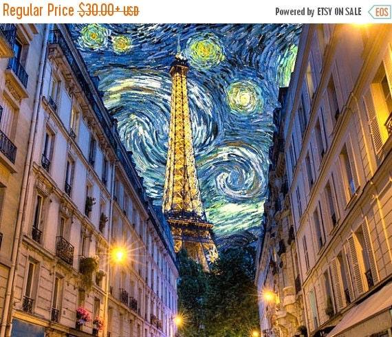 SALE - Paris Photograph Van Gogh Print Midnight in Paris Eiffel Tower Photo Woody Allen Starry Night Print par25