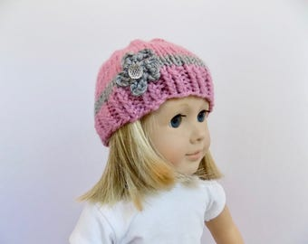 Pink Doll Hat, Pink and Gray Doll Beanie, Toys, Knit Hat with Flower
