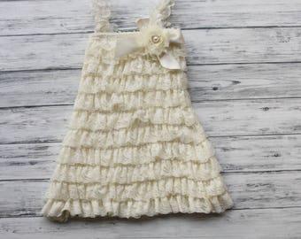Ivory Petti Lace Dress, Girls Petti Dress, flower girl, wedding, christening, baptism, baby girl ivory dress, toddler dress