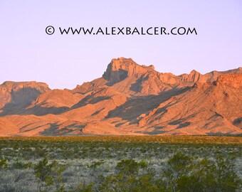 Photograph Print - Evening Shadows on Chisos Mountains, Big Bend National Park TX - dusk moon night sky sunset sun cactus desert