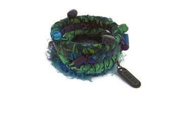 Bangle Bracelets Beaded Green Purple Boho Bangles