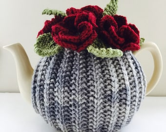 Floral Tea Cosy in Pure Wool - Size Small - fits standard 1-2 cup teapots
