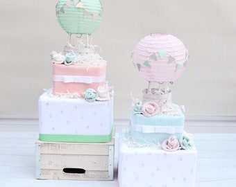 Up and Away Shower Diaper Cake, Hot Air Balloon Diaper Cake, Up and Away Diaper Cake, Baby Shower Decoration, Baby Girl Centerpiece